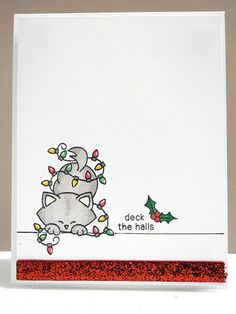 """Cat in Christmas lights card by Jennifer Ingle using """"Newton's Holiday Mischief"""" stamp set by Newton's Nook Designs Homemade Christmas Cards, Diy Christmas Gifts, Handmade Christmas, Christmas Decorations, Christmas Card Designs, Cute Christmas Cards, Homemade Decorations, Christmas Drawing, Christmas Cats"""
