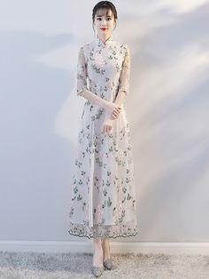 Maxi Embroidered Modern Qipao / Cheongsam Dress - CozyLadyWear Asian Fashion, Hijab Fashion, Fashion Outfits, Korean Traditional Dress, Traditional Dresses, Custom Made Clothing, Chinese Style, Asian Style, Cheongsam Dress