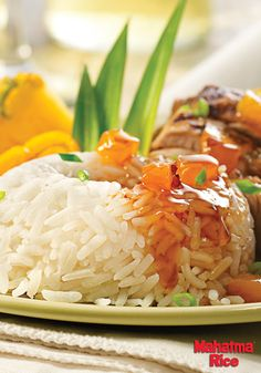 Pina Colada Rice: a delicious side dish made with sweet coconut milk, punchy pineapple juice, and Mahatma Jasmine Rice.