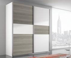 Armario dos puertas correderas. Colores: Blanco/Sade. Disponible en anchos de 162, 182, 202 y 242 cms.