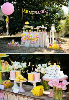Fresh Lemonade Dessert Table     TheCakeBlog.com    Pink & Yellow lemonade party theme with cupcakes, cookies, french macarons.  Most items are very DIY