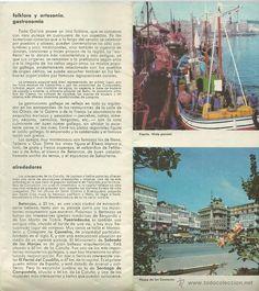 LA CORUÑA FOLLETO INFORMATIVO CON MAPA INCORPORADO 16 FOTOS AÑOS 60