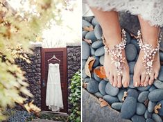 If you've thought about going barefoot, consider this: adorn your feet with pretty jewels, because even when you're barefoot on your wedding day, you should feel special. Photo by The Nichols via Green Wedding Shoes Barefoot Wedding, Gypsy Wedding, On Your Wedding Day, Perfect Wedding, Summer Wedding, Bohemian Bridesmaid, Estilo Boho, Green Wedding Shoes, Stunning Dresses