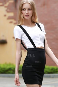 Black High Waisted Suspender Skirt BLACK: Skirts | ZAFUL