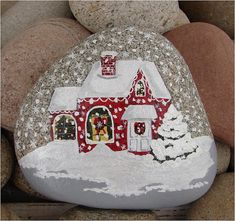Christmas House hand-painted river rock