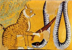 Chat de Rê tuant le serpent Apohis - Cat of Ra killing the snake Apophis |    Égypte, Thèbes,  Détail d'une reproduction de fresque,  XIXe dynastie, vers 1290 av. J.-C.,
