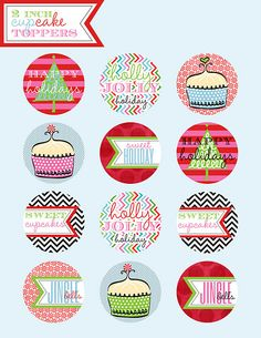 FREE PRINTABLE Cupcake Toppers {via Party Box Design} #printables