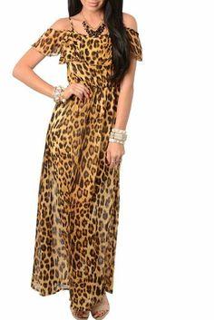 DHStyles Women's Sweet Animal Print Chiffon Off Shoulder Maxi Dress