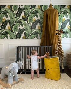 I'm finally sharing Otis' finished nursery. Okay, technically it will never be finished because a room never is, and that's why I bloody love interiors. Jungle Theme Nursery, Jungle Room, Baby Nursery Decor, Nursery Neutral, Baby Decor, Nursery Room, Kids Bedroom, Safari Theme Bedroom, Tropical Nursery