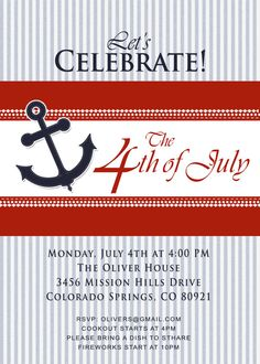 4th of July PATRIOTIC SEERSUCKER Party Invitation - Red, White, and Blue - Flag or Anchor Design