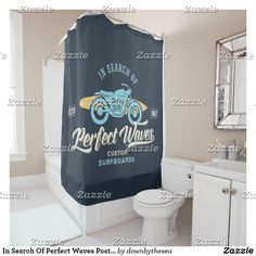 Shop In Search Of Perfect Waves Poster Shower Curtain created by downbythesea.
