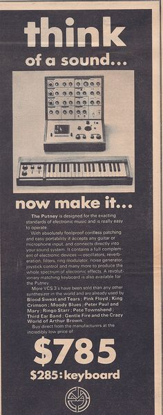 Putney synth ad, Neat! - Liza ( The original advert for the EMS Putney VCS 3 Synthesizer)