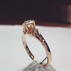 Rose gold engagment ring with 3 diamonds. One 0,45 ct and one small on each side. Elegance and delicacy. #goldsmith #jewelryaddict #accessories #special #fashionjewelry #bling #gems #luxury #timeless #oneofakind #engagementring #perfection #togetherforever #jewelry #custommade #ring #elegance #delicacy #eyecatching #exlusive #diamondsareagirlsbestfriend #eternallove #elegant #yes #sayyes #design Eternal Love, Together Forever, Rose Gold Engagement Ring, Gem S, Girls Best Friend, Diamonds, Fashion Jewelry, Wedding Rings, Bling