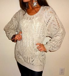 Cream Beige Knit Crochet See Through Long Loose Sweater Top Boho Casual Day S M