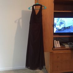 Brown long dress Brown long dress was worn once for a bridesmaid was sent to the cleaners to be washed after. David's Bridal Dresses Wedding