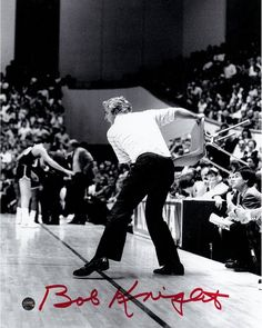 Bob Knight Signed Throwing the Chair 8x10 Photo