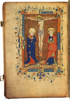 This missal, probably made in Norwich c.1420-30, was soon afterwards in use at the London church of St Botolph without Aldersgate. The figures in this Crucifixion scene are tall, graceful and restrained, with finely-painted individual faces.