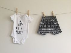 Tiny But Mighty // Hand Stamped Onesie Bodysuit // Tribal Print Harem Shorts // TeePee Shirt // Tribal TeePee Baby Shower Gift
