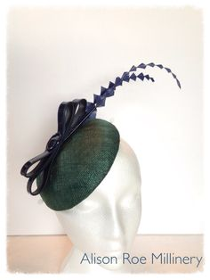 Winter headpiece with patent bow - Alison Roe Millinery
