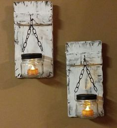 Rustic Mini Candle Holders Distressed Mini Wood Candles Mason jar candles Half pint jar Sconces 12 x 5 A Set of 2 Candle Holders Mason Jar Candle Holders, Hanging Mason Jars, Rustic Candle Holders, Candle Holder Decor, Lantern Candle Holders, Mason Jar Candles, Candle Lanterns, Small Lanterns, Rustic Lanterns