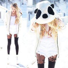 Romwe Panda Shaped Hooded Zippered Elastic Cream Coat, Omg Fashion Abby White Fluffy Cropped Jumper