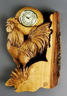 Rooster Carved Clock Wall Clocks Made by Hand Woodcarving Wooden Gift Wall Art Decoration Cabin and House by Vladimir Davydov DavydovArt