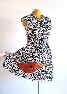 narwhal shirtwaist dress  black & white patterned dress by aorta, $38.00