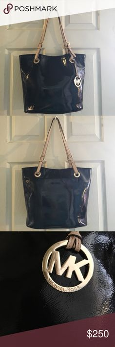 Michael Kors Jet Set Patent Leather Tote Michael Kors Jet Set Patent leather Tote. Gold tone hardware. Black signature lining. EUC 🌸 🌺 Looking to TRADE FOR lighter color Kate.🌺TV higher Michael Kors Bags Totes