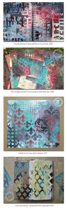 michelle ward - spray paint and stencils; stencils, gesso, and acrylics Spray Paint Stencils, Stencil Painting, Stenciling, Painting Canvas, How To Spray Paint, Spray Paint Crafts, Spray Paint Canvas, Spray Painting, Art Journal Pages
