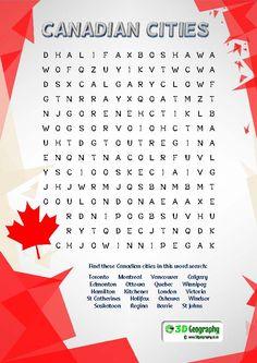 A child friendly Canadian cities word search for use when teaching geography.
