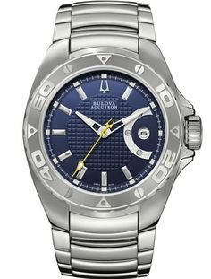 Swiss steel Bulova men's watch with blue dial and automatic movement. From €790 for €395. See more at - http://www.megawatchoutlet.com/heren/bulova.html