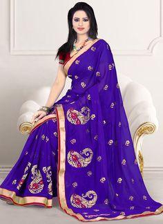 Bewitching Blue Embroidered Chiffon Saree