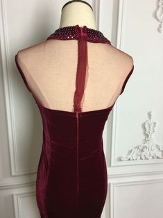 0120fe859b8a Elegant Burgundy Velvet Beaded Mermaid New Style Party Dresses