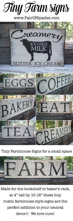 Rustic Farmhouse Signs!  Super vintage looking and affordable!  Must buy these for my kitchen asap!