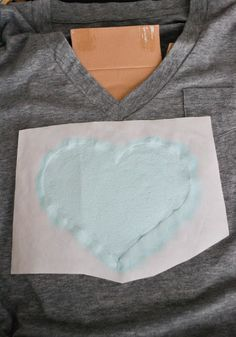This is also a great idea for businesses who want to make their own Ts without having to pay a big printing company and having to order too many.  Of course you would probably use a different shape than a heart! #DIY Heart T-Shirt with acrylic paint