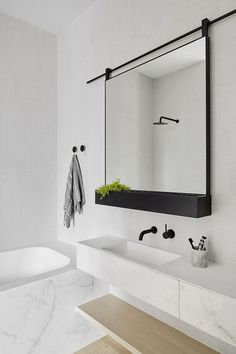 'Minimal Interior Design Inspiration' is a weekly showcase of some of the most perfectly minimal interior design examples that we've found around the web - all Bad Inspiration, Bathroom Inspiration, Interior Design Inspiration, Design Ideas, Mirror Inspiration, Big Bathrooms, Beautiful Bathrooms, Small Bathroom, Bathroom Black