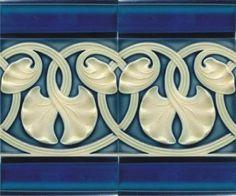 Ginkgo Art Nouveau Tiles in blue and white flower/ vine entwined pattern. Motifs Art Nouveau, Azulejos Art Nouveau, Motif Art Deco, Art Nouveau Pattern, Raku Pottery, Pottery Art, Art Nouveau Tiles, Art Nouveau Design, Antique Tiles