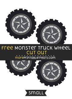 Free Monster Truck Wheel Cut Out - Small Size Printable Festa Monster Truck, Monster Trucks, Monster Truck Birthday, Monster Jam, Hot Wheels Birthday, Birthday Fun, Truck Crafts, Lego Lego, Lego Batman