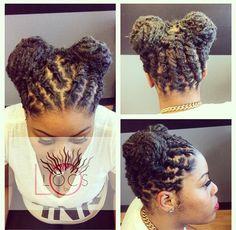 Hairstyles for short rasta hair. Dreadlock Styles, Dreads Styles, Updo Styles, Curly Hair Styles, Short Locs Hairstyles, Short Dreads, Cute Hairstyles, Natural Hair Care, Natural Hair Styles