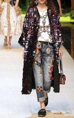 Sequin Paillette Coat by Dolce & Gabbana