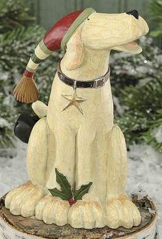 Dog Singing Figurine – Christmas Folk Art & Holiday Collectibles – Williraye Studio $16.50