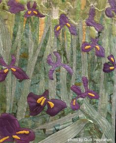 """View of Arles with Irises"" by Carole Pirruccello, Cathy Brorby, Phyllis McCalla, Jan Bawart and Jan Soules. 2014 RCQG, photo by Quilt Inspiration"