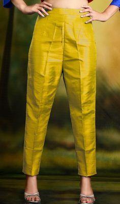 Golden Yellow Cigarette Pants Skinny Trousers - Silk