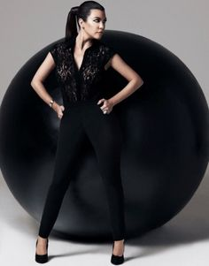Kardashian Kollection For Lipsy jumpsuit featuring lace top with button fastening and tailored trousers. A perfect stand out party look this season! S/S14