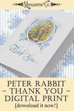 PETER RABBIT THANK You Card Digital Download Beatrix Potter Printable Card Baby Boy Shower Gender Neutral Printable --Thank you notes following baby showers are an important way to show your gratitude to those who helped you celebrate this special milestone.  #Moonlighting #baby #shower #thankyou #custom #peterrabbit