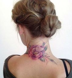 Cool Flower Neck Tattoos For Women