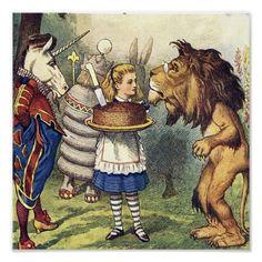 Leão e Alice do unicórnio no impressão do país das