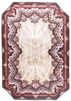 A Deco rug BB2201 - A modern early 20th century Deco rug, the field with bands of beige and brown radiating outward beneath an overall ...