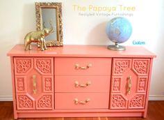 Custom Order Lacquer Dresser in Tangerine Tango