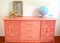 Custom Order Lacquer Dresser in Tangerine Tango by ThePapayaTree, $695.00    Lacquer glossy gold chinoiserie hollywood regency custom painted dresser  lacquered dresser